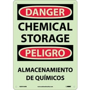 Danger, Chemical Storage, Bilingual, 14X10, Glow Rigid Plastic
