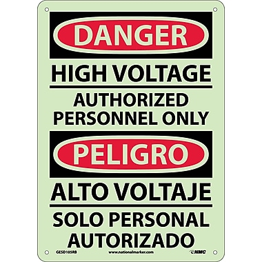 Danger, High Voltage Authorized Personnel Only, Bilingual, 14X10, Glow Rigid Plastic