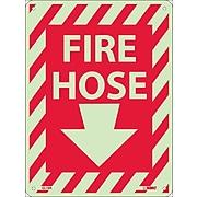 Notice Signs; Fire Hose (With Down Arrow), 12X9, Glow Rigid