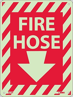 Fire Hose (With Down Arrow), 12X9, Glow Rigid