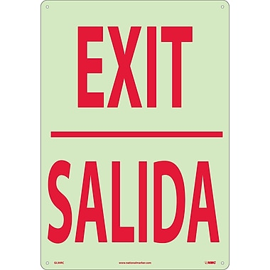 Exit (Bilingual), 20X14, Glow Rigid