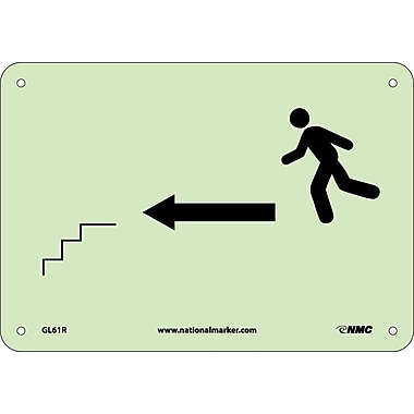 Stairs Left Arrow Man Graphic, 7X10, Glow Rigid