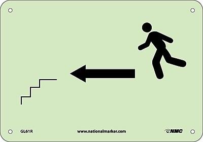 Stairs Left Arrow Man Graphic, 7X10, Glow Rigid
