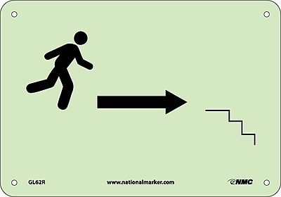 Stairs Right Arrow Man Graphic, 7X10, Glow Rigid