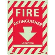 Fire, Fire Extinguisher Location: ____, 12X9, Rigid Plasticglow