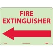 Fire, Fire Extinguisher, Left Arrow, 10X14, Rigid Plasticglow