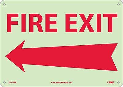 Fire, Fire Exit, Left Arrow, 10X14, Rigid Plasticglow