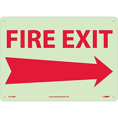 Fire, Fire Exit, Right Arrow, 10X14, Rigid Plasticglow