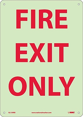 Fire, Fire Exit Only, 14X10, Rigid Plasticglow