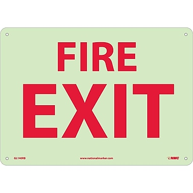Fire, Fire Exit, 10X14, Rigid Plasticglow