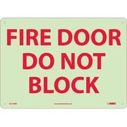 Fire, Fire Door Do Not Block, 10X14, Rigid Plasticglow