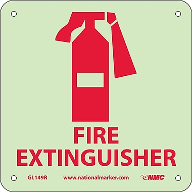 Fire, Fire Extinguisher, Graphic, 7X7, Rigid Plasticglow