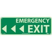 """Emergency Exit with Left Arrow, 5"""" x 14"""", Glow Rigid"""