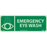 National Marker - Panneau de sécurité Emergency Eye Wash, 5 x 14 po, plastique rigide
