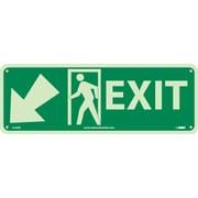 Exit (W/ Door And Left Down Arrow), 5X14, Glow Rigid