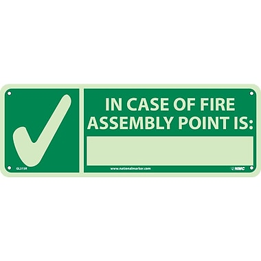 In Case Of Fire Assembly Point Is, 5X14, Glow Rigid
