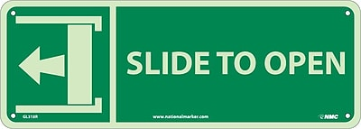 Slide To Open (W/ Left Arrow), 5X14, Glow Rigid