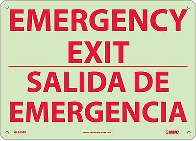 Emergency Exit, Bilingual, 10X14, Glow Rigid Plastic