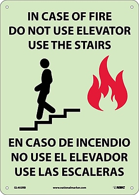 In Case Of Fire Do Not Use Elevator Use The Stairs (Graphic(, Bilingual, 14X10, Glow Rigid Plastic