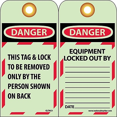 Tag, Lockout, Danger This Tag & Lock To Be Removed.., 6X3 1/4, Glow Unrip Vinyl