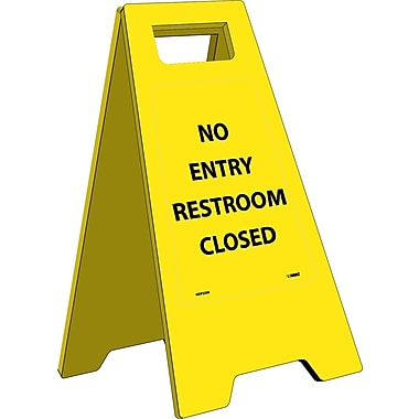 Floor Sign, Heavy Duty, No Entry Restroom Closed, English Only, 10 3/4X24 5/8