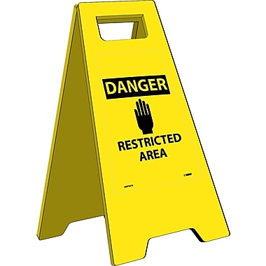 Heavy Duty Floor Sign, Danger Restricted Area, 24.63X10.75