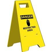 Heavy Duty Floor Sign, Danger Restricted Area, 24.63X10.75