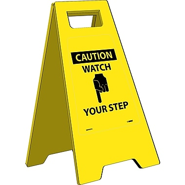 Heavy Duty Floor Sign, Caution Watch Your Step, 24.63X10.75