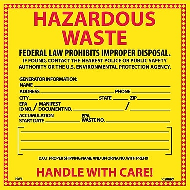 Hazard Labels, Hazardous Waste, 6