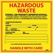Hazard Labels, Hazardous Waste, 6X6, Adhesive Vinyl, 25/Pk