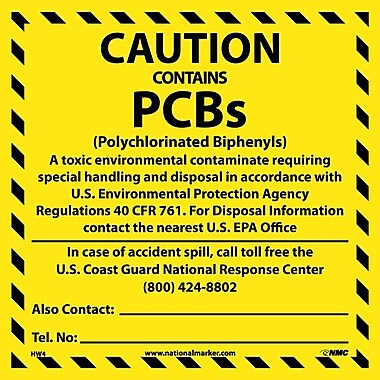 Hazard Labels, Caution Contains Pcb'S. . .., 6X6, Adhesive Vinyl, 25/Pk