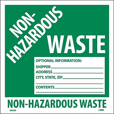 Hazard Labels, Non-Hazardous Waste, 6