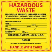 Hazard Labels, Hazardous Waste (For Liquids), 6X6, Adhesive Vinyl, 25/Pk