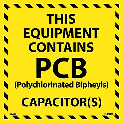 Hazard Labels, This Equipment Contains Pcb, 6X6, Adhesive Vinyl, 25/Pk