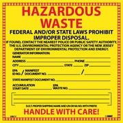 Hazard Labels, Hazardous Waste New Jersey, 6X6, Adhesive Vinyl, 25/Pk