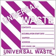 Hazard Labels, Hazardous Materials Shipping, Universal Waste Stripes, 6X6, Adhesive Vinyl, 25/Pk