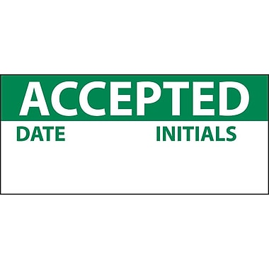 Inspection Label, Accepted, Grn/Wht, 1X2 1/4, Adhesive Vinyl (27 Labels)
