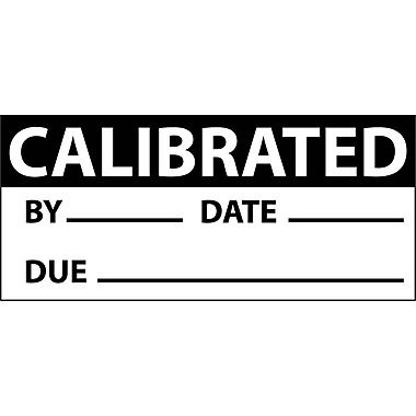 Inspection Label, Calibrated, Blk/Wht, 1X2 1/4, Adhesive Vinyl (27 Labels)