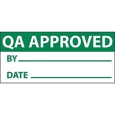 Inspection Label, Qa Approved, Grn/Wht, 1X2 1/4, Adhesive Vinyl (27 Labels)