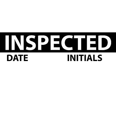 Inspection Label, Inspected, Blk/Wht, 1X2 1/4, Adhesive Vinyl (27 Labels)