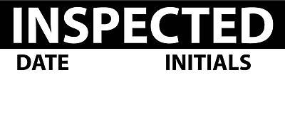 Inspection Label, Inspected, Blk/Wht, 1X2 1/4, Adhesive Vinyl (27 Labels)