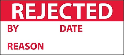 Inspection Label, Rejected, Red/Wht, 1X2 1/4, Adhesive Vinyl (27 Labels)