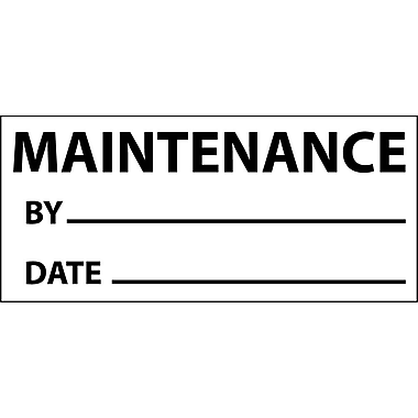 Inspection Label, Maintenance, Blk/Wht, 1X2 1/4, Adhesive Vinyl (27 Labels)