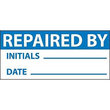 Inspection Label, Repaired By, Blue/Wht, 1X2 1/4, Adhesive Vinyl (27 Labels)