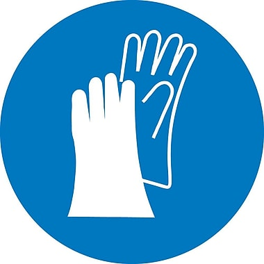 Label, Graphic For Wear Hand Protection, 2In Dia, Adhesive Vinyl