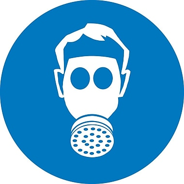 Label, Graphic For Wear Respiratory Protection, 2In Dia, Adhesive Vinyl