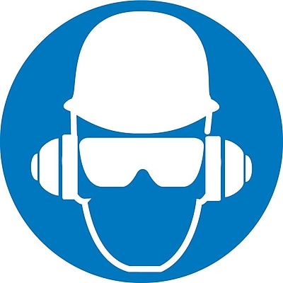 Label, Graphic For Wear Head, Hearing And Eye Protection, 2In Dia, Adhesive Vinyl