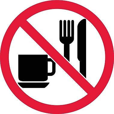 Label, Graphic For No Eating Or Drinking, 2In Dia, Adhesive Vinyl