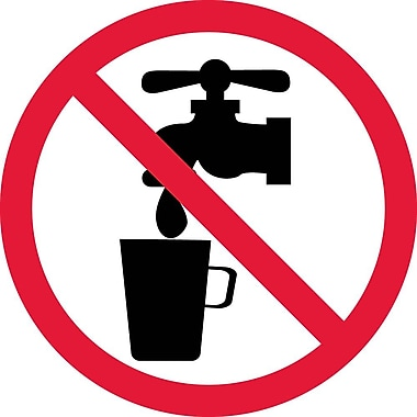 Label, Graphic For No Drinking Water, 2In Dia, Adhesive Vinyl