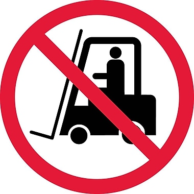 Label, Graphic For No Industrial Trucks, 2In Dia, Adhesive Vinyl